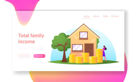 Female Character Saving and Collect Money Landing Page Template. Woman Stand near Golden Coins Pile front of Cottage