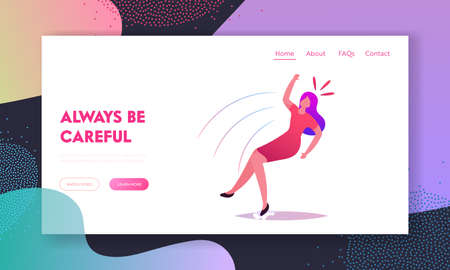 Clumsiness, Slip and Stumble Landing Page Template. Female Character Slipping and Fall on Wet Floor. Woman Falling Banque d'images - 157181787