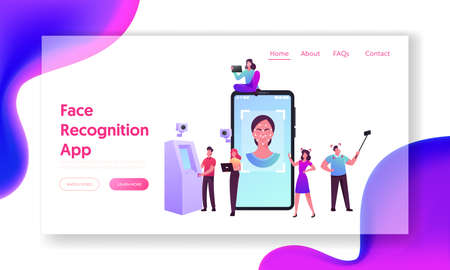 Face Detection, Facial Recognition Landing Page Template. Tiny Characters Scanning Face Id on Smartphone, Verification Banque d'images - 157181788