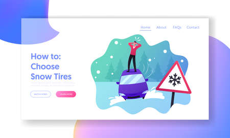 Safety on Snowy Road, Winter Accident Landing Page Template. Desperate Man Stand on Roof of his Car Stuck in Snowdrift Banque d'images - 157181789