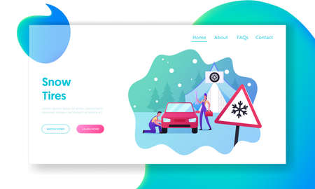 Road Accident, Garage Service Landing Page Template. Mechanics Characters Change Summer Car Tyres on Winter, Repair Work