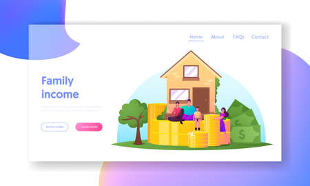 Family Income, Property Insurance, Mortgage Landing Page Template. Happy Family Characters Mother, Father and Child Banque d'images - 157181791