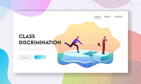 Class Discrimination Landing Page Template. Wealthy, Rich, Successful Character Throw Boot Drive Out Man in Poor Dress