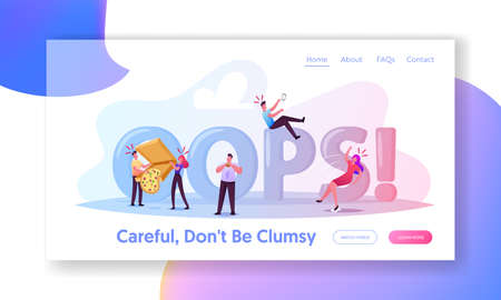 Clumsiness Landing Page Template. Awkward or Clumsy Male, Female Characters Falling on Wet Floor, Slap Clothes with Food