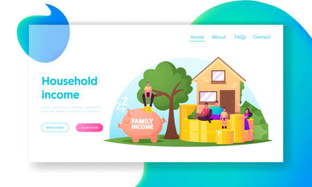 Family Income Landing Page Template. Tiny Characters around of Huge House with Coins and Piggy Bank. People Save Money Banque d'images - 157181796