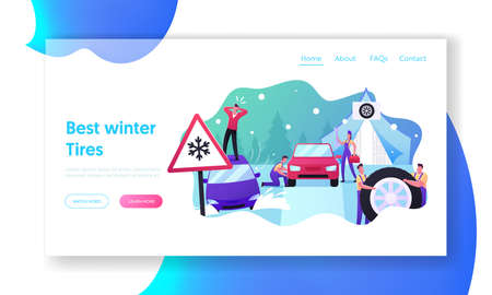 Mechanics Change Tyres for Winter Landing Page Template. Desperate Man Stand on Roof of Car Stuck in Deep Snowdrift Banque d'images - 157181795