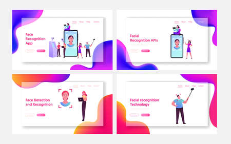 Face Detection, Facial Recognition Landing Page Template Set. Tiny Character Scanning Face Id, Smartphone Identification
