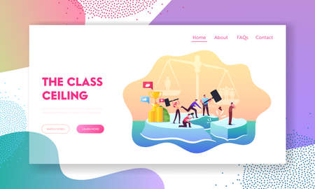 Class Discrimination, Inequity Landing Page Template. Wealthy, Successful Characters Drive Out Man in Poor Clothes 일러스트