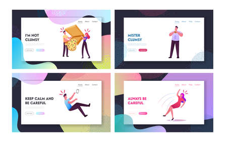 Clumsiness Landing Page Template Set. Awkward or Clumsy Male, Female Characters Falling on Floor, Slap Clothes with Food