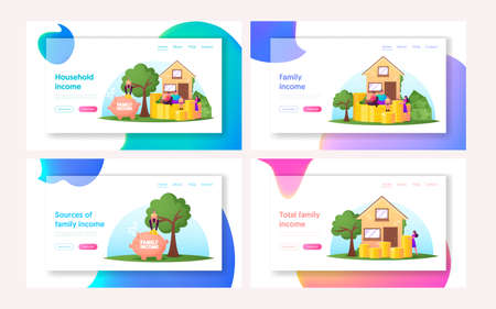 Family Basic Income Landing Page Template Set. Tiny Characters around of Huge House with Piles of Coins and Piggy Bank