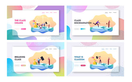 Class Discrimination, Inequity Landing Page Template Set. Successful Characters Drive Out Man in Poor Rough Clothes