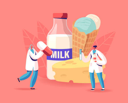 Lactose Intolerance. Tiny Doctor Characters with Huge Pills Treat Allergy on Dairy Production, Problem of Drinking Milk