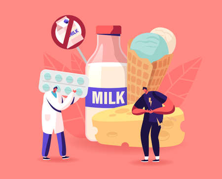 Doctor Give Pills to Patient for Treat Allergy on Milk Food, Lactose Intolerance. Sick Man Character Holding Bad Stomach Banque d'images - 157377513