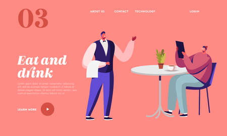 Hospitality Consumerism Landing Page Template. Young Man Ordering Food with Menu and Relaxing in Cafe. Waiter Take Order