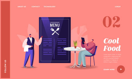 Man Relaxing in Cozy Cafe Ordering Food Landing Page Template. Waiter Bring Menu. Tourist Character Relax in Restaurant 일러스트