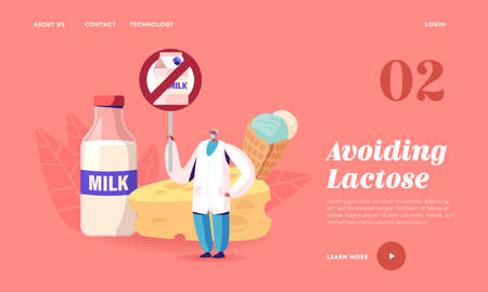 Lactose Intolerance, Allergy on Dairy Products Landing Page Template. Senior Doctor Character Holding Restriction Banner