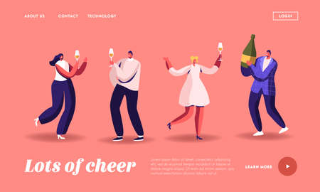 Party Celebration, New Year or Birthday Landing Page Template. Cheerful Drunk People in Festive Dresses with Wineglasses 일러스트