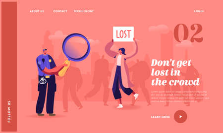 Woman Get Lost in Crowded Place Landing Page Template. Policeman Character with Magnifier, Big City Social Problem Illustration