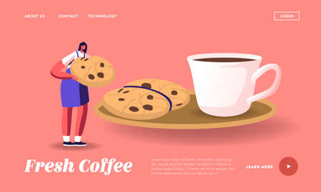 Morning Refreshment Landing Page Template. Tiny Female Character Eating Huge Cookie with Chocolate Sprinkles with Coffee