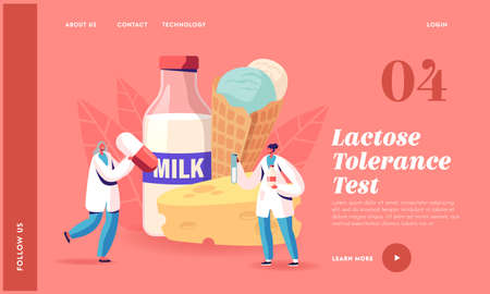 Lactose Intolerance Landing Page Template. Tiny Doctor Characters with Huge Pills Treat Allergy on Dairy Production