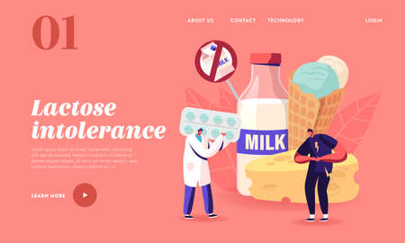 Doctor Give Pills to Patient for Treat Allergy on Milk Food, Lactose Intolerance Landing Page Template, Stomach Ache