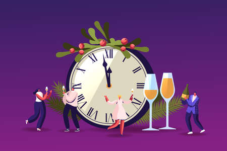Happy Tiny Characters Having Fun and Drinking Champagne at Huge Chiming Clock with Spruce Branches, People Greeting