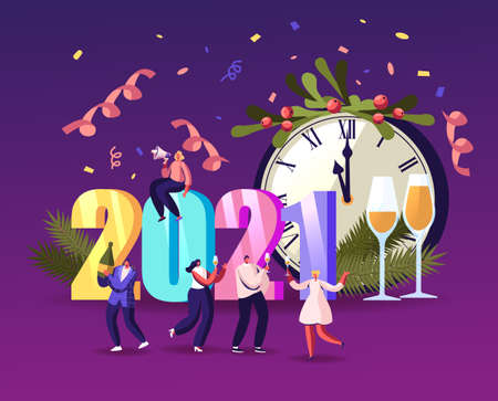 Tiny Characters Have Fun and Drinking Champagne at Huge 2021 Numbers Greeting Each Other and Dancing Celebrate New Year 일러스트