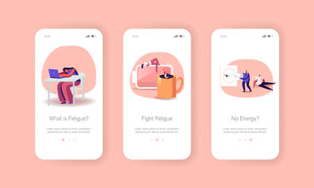 Fatigue, Low Energy and Working Burnout Mobile App Page Onboard Screen Template. Characters Sleep and Relax at Huge Cup Ilustração Vetorial