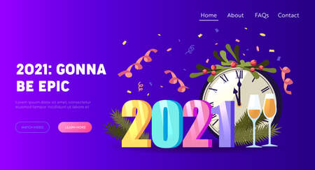 2021 New Year Greeting Card Landing Page Template. Chiming Clock Decorated with Spruce Branch, Champagne Wineglasses