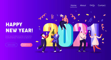 Winter Season Holidays, Corporate Party Event Celebration Landing Page Template. Tiny Characters Celebrate New Year