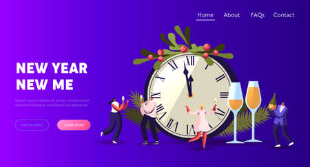 People Greeting, Dancing, Celebrate New Year Landing Page Template. Happy Characters Having Fun and Drinking Champagne 일러스트