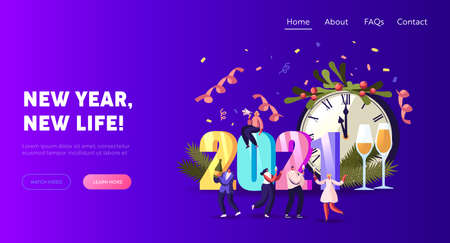 2021 Happy New Year Celebration Landing Page Template. Tiny Characters Have Fun, Drink Champagne at Huge Chiming Clock Banque d'images - 157298085