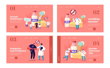 Lactose Intolerance Landing Page Template Set. Man Feel Bad in Stomach Visit Hospital for Treatment. Dairy Products