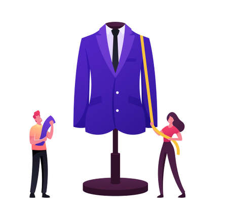 Apparel or Fashion Designer Characters Projecting Garment on Huge Mannequin. Tiny Tailor Masters Sewing Clothes 일러스트