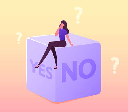Random Selection or Making Hard Decision Concept. Tiny Female Character Sitting on Huge Dice with Yes or No Sides, Fate