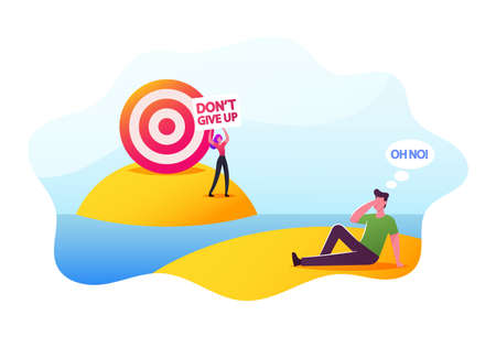 Distant Goal, Aim Achievement Concept. Desperate Businessman Character Sit Far from Desired Target, Business Challenge