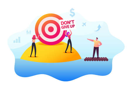 Motivation, Challenge. People Trying to Achieve Distant Goal. Characters Floating on Raft, Throw Darts into Remote Aim 일러스트