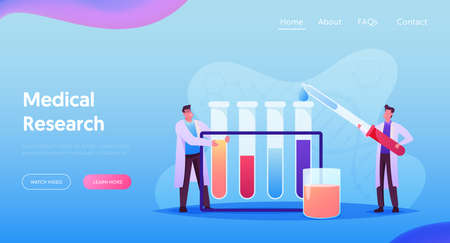 Researchers with Test Tubes in Chemical Lab Scientific Research Landing Page Template. Tiny Scientists Conduct Research