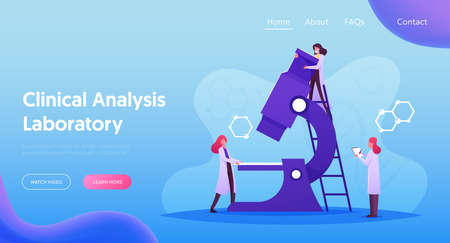 Medical Analysis, Pharmaceutic Laboratory Research Landing Page Template. Scientist Characters Work in Chemistry Lab