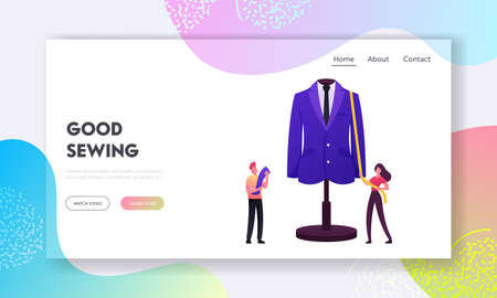 Dressmaking, Sewer Profession Landing Page Template. Apparel or Fashion Designers Projecting Garment on Mannequin 일러스트
