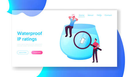 Innovative Technologies, Mobile Phone Development Landing Page Template. Tiny Men Throw Waterproof Smartphone in Water