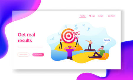 People Achieve Distant Goal Landing Page Template. Characters Looking on Target through Binoculars, Floating on Raft Illustration