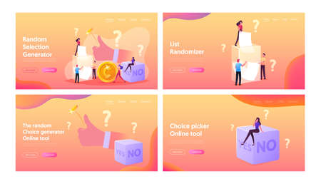 Random Selection Landing Page Template Set. Tiny Characters Throw Coin and Dice with Yes or No Side, Pull Paper from Box Illustration