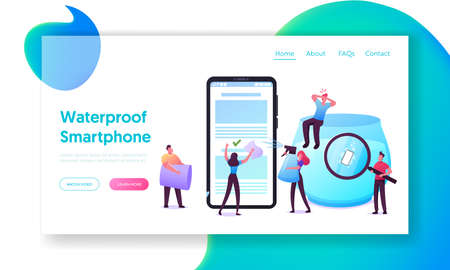Waterproof Smartphone Landing Page Template. Tiny Characters Pouring Water on Huge Cellphone, Throw Device into Aquarium