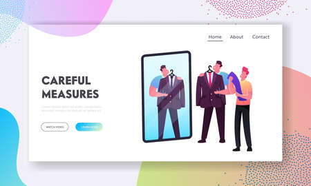 Man Trying on Clothes in Dressing Room Landing Page Template. Male Character Fitting Suit Blazer with Assistant Help 일러스트