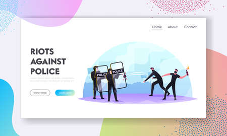 Violence Riots, Protesting, Strike or Demonstration Landing Page Template. Male Characters in Masks Fighting with Police