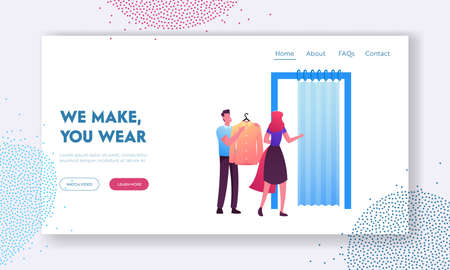 Shopping Landing Page Template. Woman Try on Clothes in Fitting Room at Store, Sales Man Assistant Character with Dress