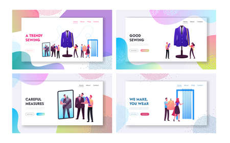 Clothing Designer, Sewer Work Landing Page Template Set. Customers Characters Fitting Clothes in Tailoring Atelier