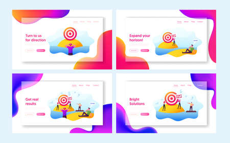 People Achieve Distant Goal Landing Page Template Set. Characters Looking on Target through Binoculars, Floating on Raft