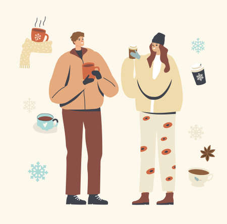 Young Male or Female Characters in Warm Clothes Enjoying Winter Coffee Outdoors. People Drinking Hot Drink at Wintertime